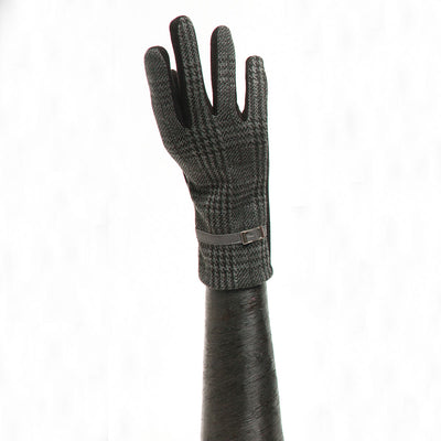 Grey/Black Houndstooth Glove with Buckle and Black Palm - Delight In Designs