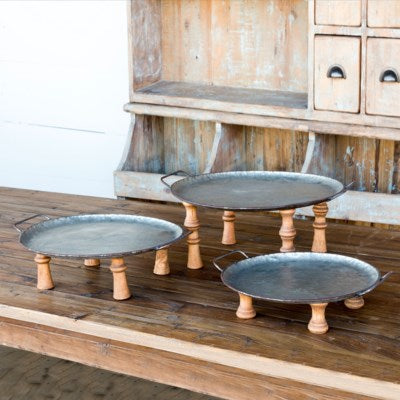 Wooden Footed Round Metal Tray