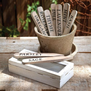 Wooden Herbal Plant Stakes In Antique White Box