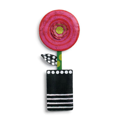 Pink Circle Flower in Pot Door Hanger - Delight In Designs