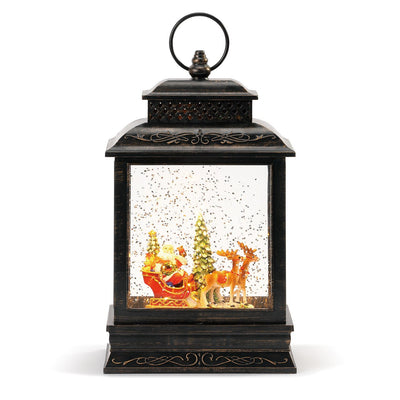 Lit Musical Santa and Sleigh Lantern
