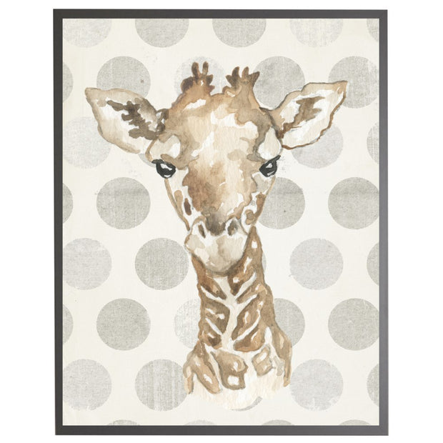 Framed Watercolor Baby Giraffe