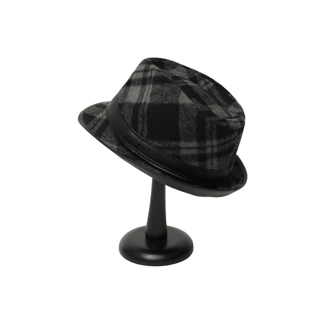 Black and Grey Plaid Fedora with Black Brim - Delight In Designs