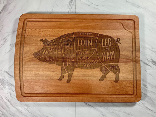 Butcher Cuts (PIG) Laser Engraved Cutting Board