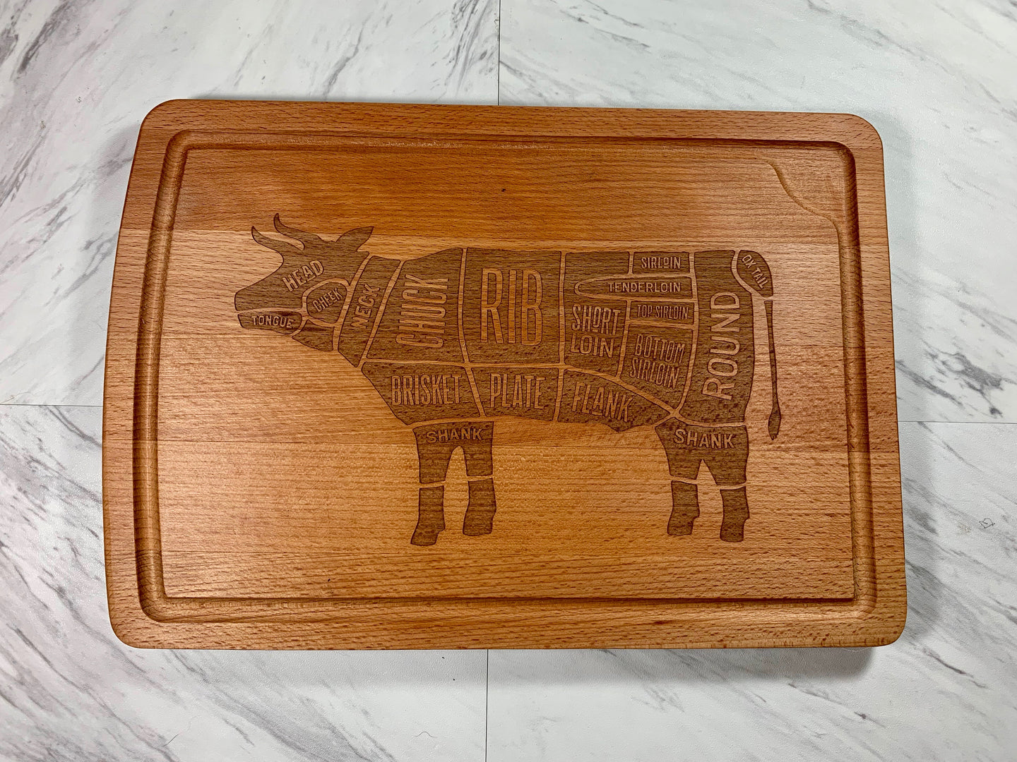 Butcher Cuts (COW) Laser Engraved Cutting Board