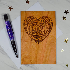 Mandala Heart Wood Card | Cherry Wood | Wedding | Valentine's Day