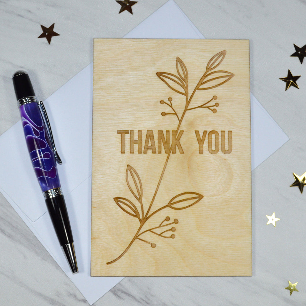 Floral Thank You Card - Aspen Wood