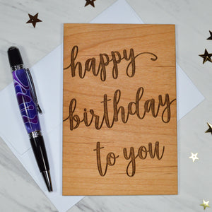 Happy Birthday Script Card - Cherry Wood