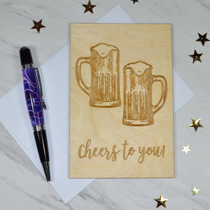 Cheers to You! - Alder Wood (Birthday Card)