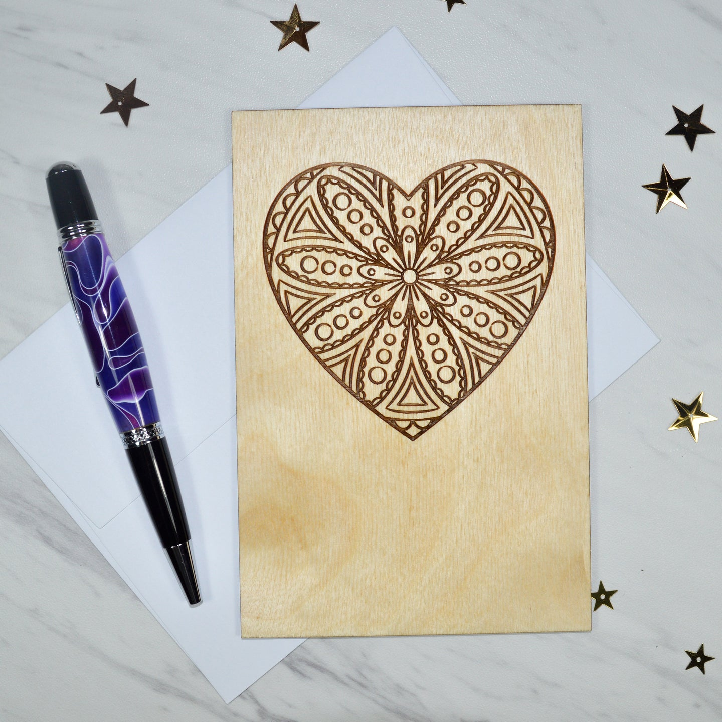 Mandala Heart Wood Card