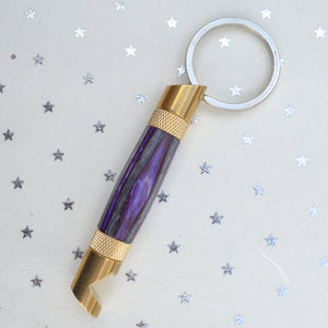 Keychain Bottle Opener - WOOD - Hand Turned (purple and grey)