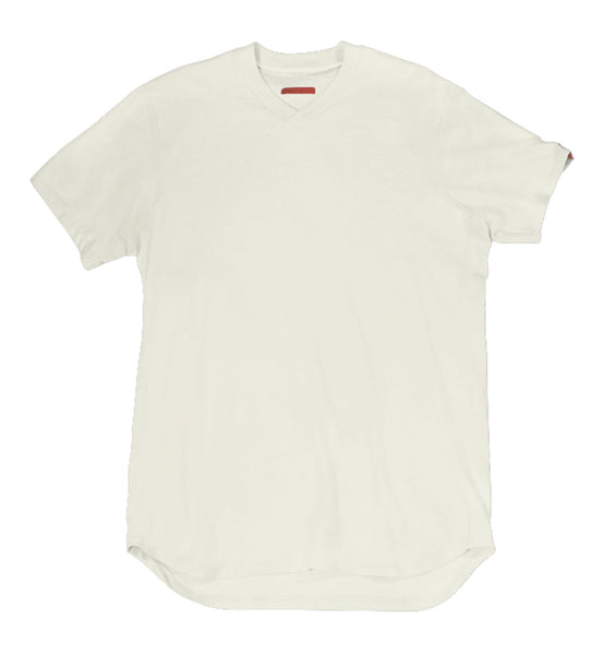 Warren Peace - Teller V-Neck T-Shirt in Fog Cover - Designer Streetwear