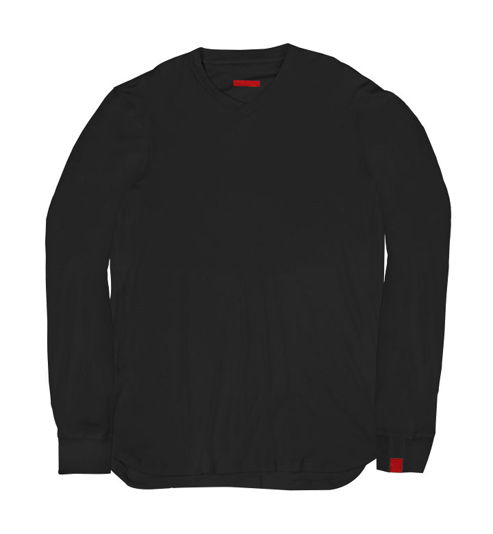 Warren Peace - Remy Long Sleeve V-Neck in Black Front - Designer Streetwear