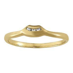 1/20 ct tw 14kt Gold Curved Diamond Wedding Band, F Color VS Diamonds