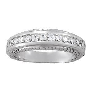 3/8 ct tw 14kt Gold Heavy Channel Set Diamond Wedding Band, F Color VS Diamonds