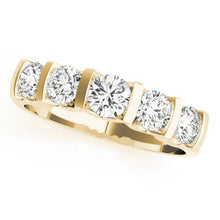 1 ct tw 14kt Gold Bar Set Diamond Wedding Band, F Color VS Diamonds