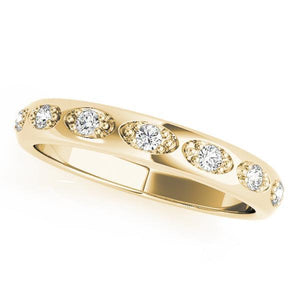 1/8 ct tw 14kt Gold Pave Diamond Wedding Band, F Color VS Diamonds