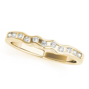 1/10 ct tw 14kt Gold Curved Diamond Wedding Band with F Color VS Clarity Diamonds