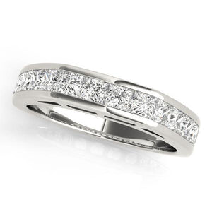 1 1/5 ct tw 14kt Gold Princess Diamond Wedding Band, F Color VS Diamonds