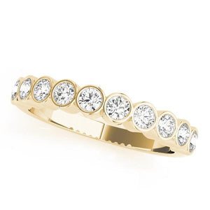 3/8 ct tw 14kt Gold Bezel Set Diamond Wedding Band, F Color VS Diamonds