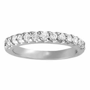 5/8 ct tw 14kt Gold Prong Set Diamond Wedding Band, F Color VS Diamonds