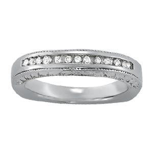1/8 ct tw 14kt Gold Channel Set Diamond Wedding Band, F Color VS Diamonds