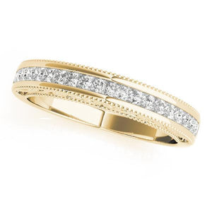 3/8 ct tw 14kt Gold Princess Diamond Wedding Band, F Color VS Diamonds