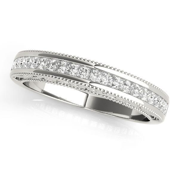 7/8 ct tw 14kt Gold Princess Diamond Wedding Band, F Color VS Diamonds