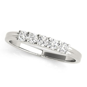 1 1/4 ct tw 14kt Gold Prong Set Diamond Wedding Band, F Color VS Diamonds