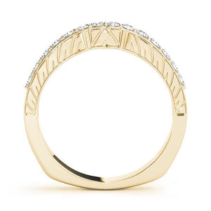 1/4 ct tw 14kt Gold Curved Diamond Wedding Band with F Color VS Clarity Diamonds
