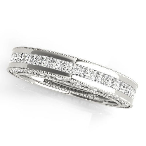 1 1/2 ct tw 14kt Gold Princess Diamond Wedding Band, F Color VS Diamonds