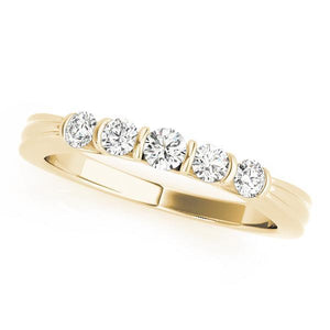 1/3 ct tw 14kt Gold Bar Set Diamond Wedding Band, F Color VS Diamonds