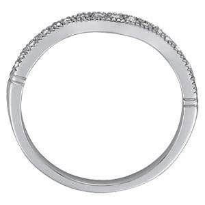 1/15 ct tw 14kt Gold Curved Diamond Wedding Band, F Color VS Diamonds