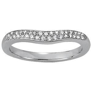 1/5 ct tw 14kt Gold Curved Diamond Wedding Band, F Color VS Diamonds