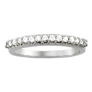 3/8 ct tw 14kt Gold Prong Set Diamond Wedding Band, F Color VS Diamonds