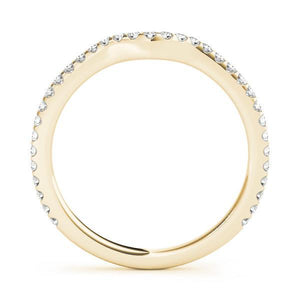 1/4 ct tw 14kt Gold Curved Diamond Wedding Band, F Color VS Diamonds