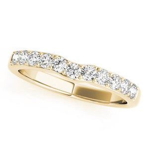 3/8 ct tw 14kt Gold Curved Diamond Wedding Band, F Color VS Diamonds