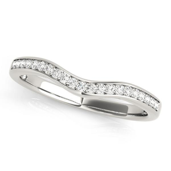 1/6 ct tw 14kt Gold Curved Diamond Wedding Band with F Color VS Clarity Diamonds