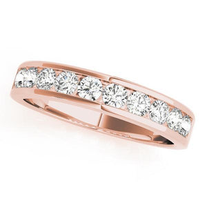 3/4 ct tw 14kt Gold Channel Set Diamond Wedding Band, F Color VS Diamonds