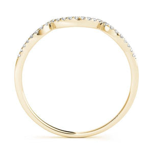 1/10 ct tw 14kt Gold Curved Diamond Wedding Band, F Color VS Diamonds