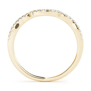 1/8 ct tw 14kt Gold Curved Diamond Wedding Band, F Color VS Diamonds