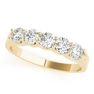 1/2 ct tw 14kt Gold Prong Set Diamond Wedding Band, F Color VS Diamonds