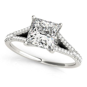 3/4 ct tw MultiRow Engagement Ring with G Color SI1 Clarity Diamonds GIA Center Stone.