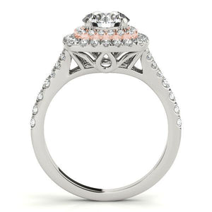 7/8 ct tw Halo Engagement Ring with G Color SI1 Clarity Diamonds GIA Center Stone.