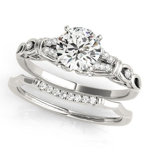 3/8 ct tw MultiRow   Engagement Ring with G Color SI1 Clarity Diamonds GIA Center Stone.