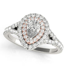 Load image into Gallery viewer, 7/8 ct tw Halo Pear Engagement Ring with G Color SI1 Clarity Diamonds GIA Center Stone.