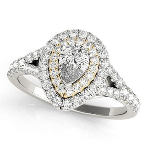 7/8 ct tw Halo Pear Engagement Ring with G Color SI1 Clarity Diamonds GIA Center Stone.