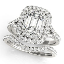 Load image into Gallery viewer, 1 1/5 ct tw Halo Emerald Cut Engagement Ring F VS Diamonds GIA Center Stone