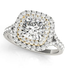 2 1/2 ct tw Halo Cushion Cut Engagement Ring with G Color SI1 Clarity Diamonds GIA Center Stone.