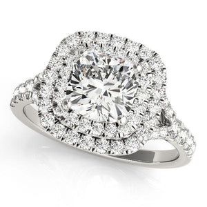 2 1/2 ct tw Halo Princess & Cushion Cut Engagement Ring with F Color VS Clarity GIA Certified Diamond